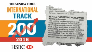 TLC Marketing one of only three marketing agencies who made The HSBC Sunday Times International Fast Track 200.